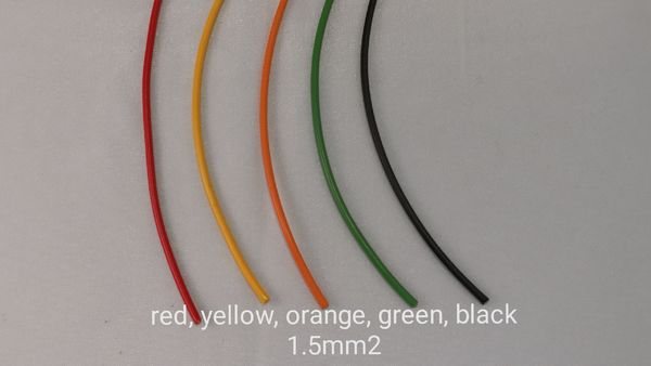 Wire 1,5mm2, several colours